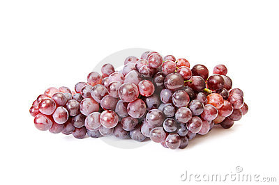 Juicy blue grapes on a white.