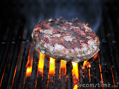 Juicy Flame Broiled Bleu Cheese Hamburger Grilling