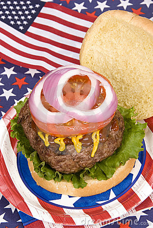 Juicy fourth of July hamburger