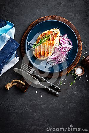 Free Juicy Grilled Chicken Meat, Fillet With Fresh Marinated Onion On Plate. Black Background, Top View, Closeup Stock Image - 106058161