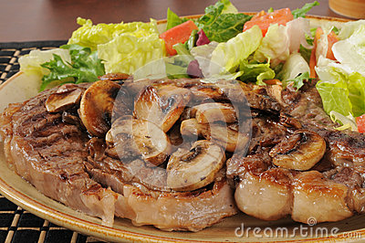 Juicy grilled rib steak