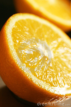 Juicy half oranges