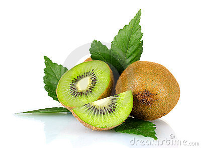 Juicy kiwi fruit and leaves