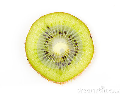 Juicy kiwi fruit slice on white