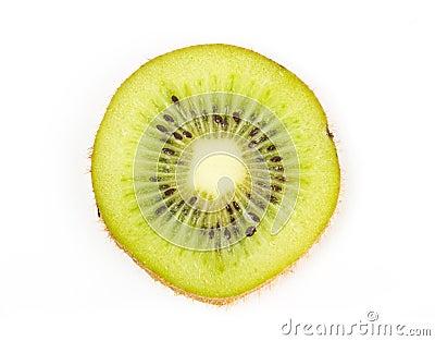 Juicy kiwi fruit slice on white