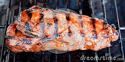 Juicy New York strip steak on a grill