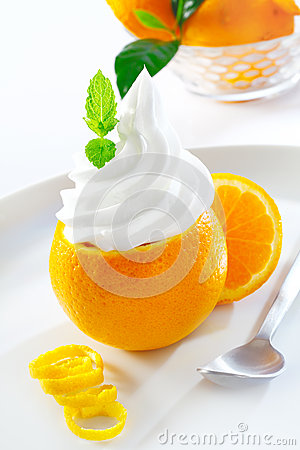 Juicy orange topped with softserve