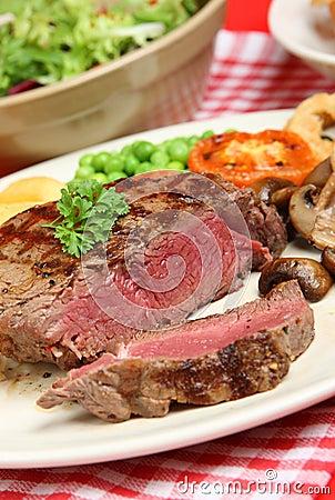 Juicy Rare Fillet Steak Dinner