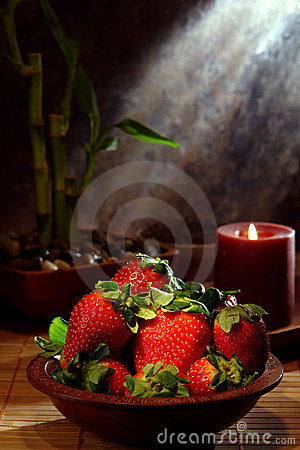 Juicy Red Strawberries in a Wood Bowl