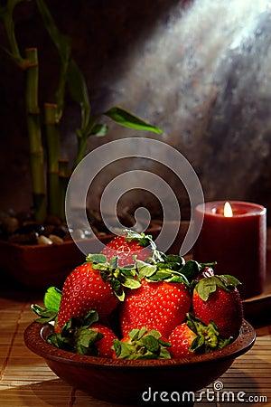 Juicy Red Strawberries in a Wood Bowl