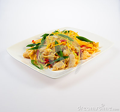 Juicy roasted chicken with pasta and vegetables