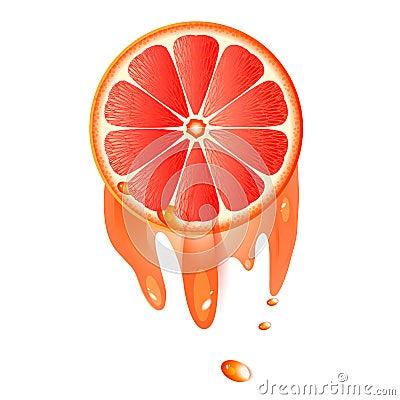 Juicy slice of grapefruit