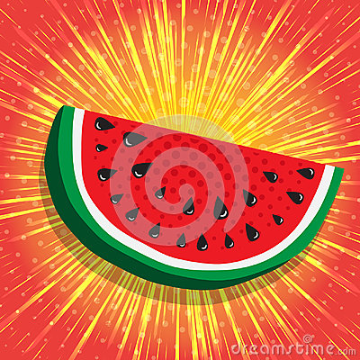 Free Juicy Slice Of Watermelon. Yellow, Shiny Radial Rays Speed Lines On Bright Red Background. Abstract Background, Vector Stock Photography - 95335922