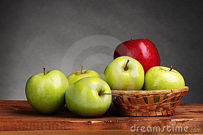 Juicy sweet apples in basket