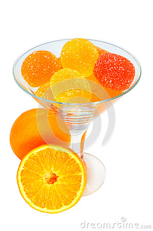 Jujube in the glass and tangerines