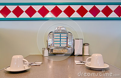 Juke box on restaurant table 1950 style.
