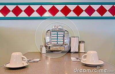 Juke Box On Restaurant Table 1950 Style Royalty Free