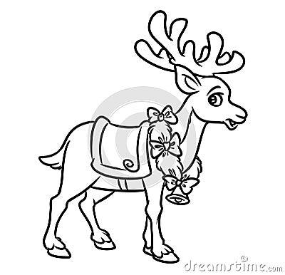 Jul santa reindeer coloring pages stock illustrationer for Santa reindeer coloring pages