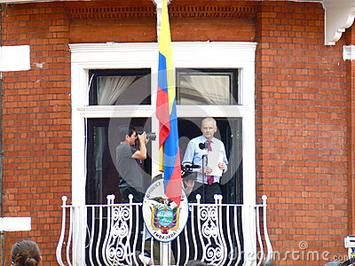 Julain Assange with his speech in hands Editorial Stock Photo