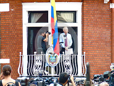 Julain Assange makes a speech Editorial Photography