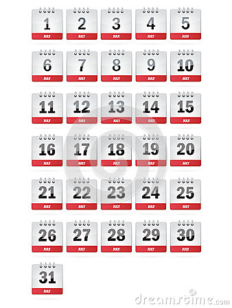 July Calendar Icons