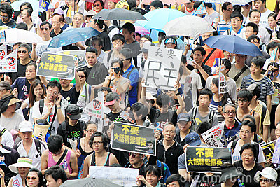 1 july marches 2012 in Hong Kong Editorial Stock Photo