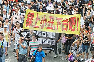 1 july marches 2012 in Hong Kong Editorial Image