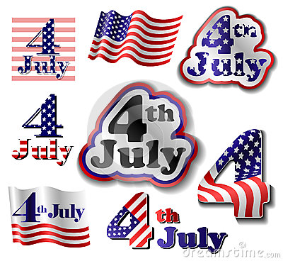 4 July sticker set