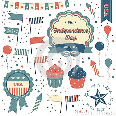 July 4th Badges, design elements and clipart