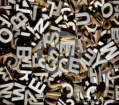 Jumbled Letters Made Of Wood Stock Images