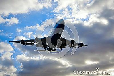 Jumbo Jet 747 Passing By Overhead