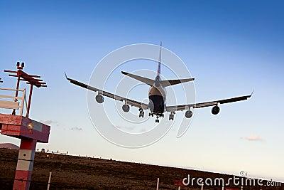 Jumbo Jet 747 Ready for Landing