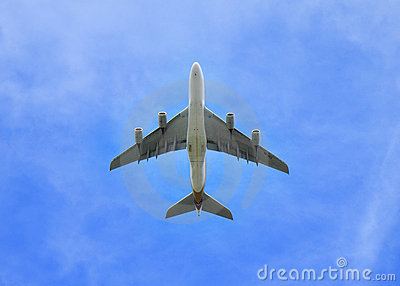 Jumbo Jet aeroplane directly in the sky above