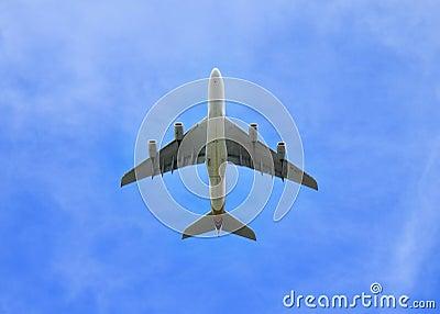 Jumbo Jet aeroplane directly in the sky above