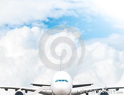 Jumbo jet at airport.
