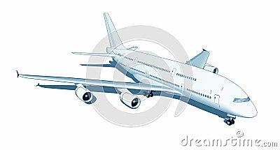 Jumbo jet isolated on white