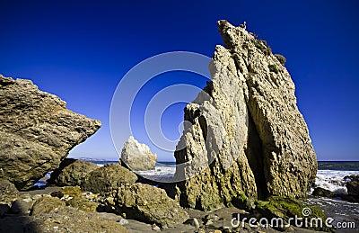 Jumbo rock in Malibu beach