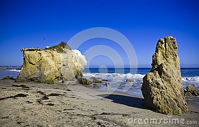 Jumbo rock in Malibu beach