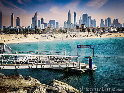 Jumeirah Beach and skyline of Dubai Editorial Image