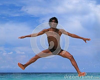 Jump on beach