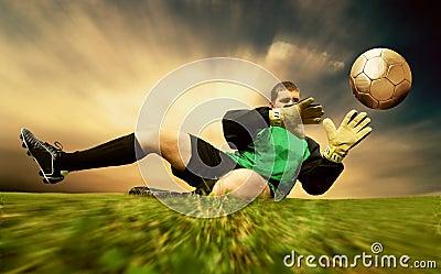 Jump of goalman