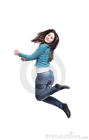 Jump of happy joyful young woman