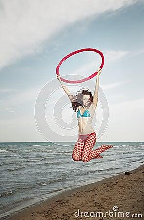 Jump with hula hoop