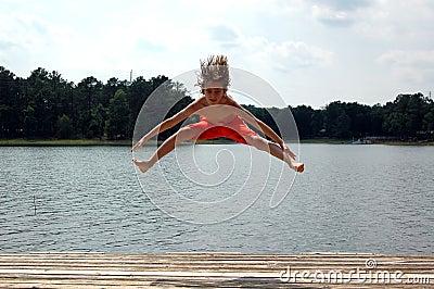Jump at lake
