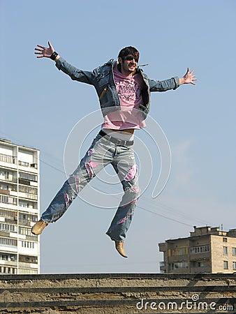Jump man in city