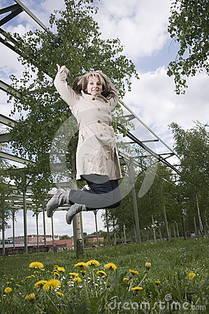 Jump of mature woman  right wide