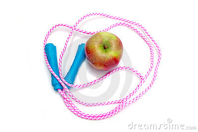 Jump rope and apple