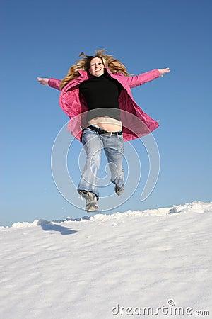 Jump winter girl