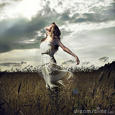 Free Jump Women In Wheat Field Stock Images - 15846214