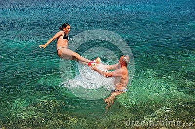 Jumping into adriatic water